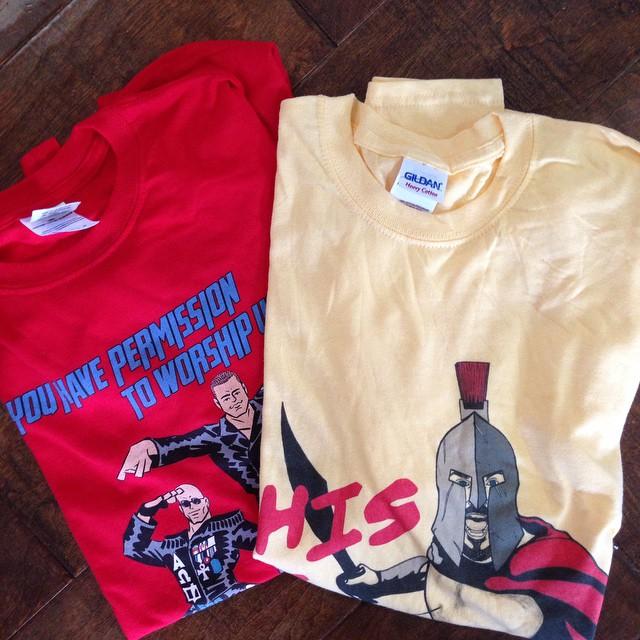 Visiting Solid Bro™ @valiantvill bought me Addiction & Ciampa shirts at PWG Friday night.